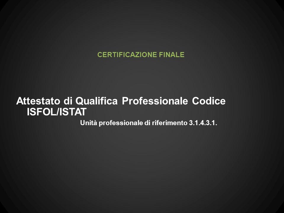 Attestato di Qualifica Professionale Codice ISFOL/ISTAT Unità professionale di riferimento 3.1.4.3.1. CERTIFICAZIONE FINALE