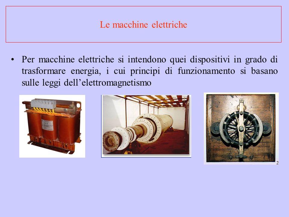 Le macchine elettriche Per macchine elettriche si intendono quei dispositivi in grado di trasformare energia, i cui principi di funzionamento si basan
