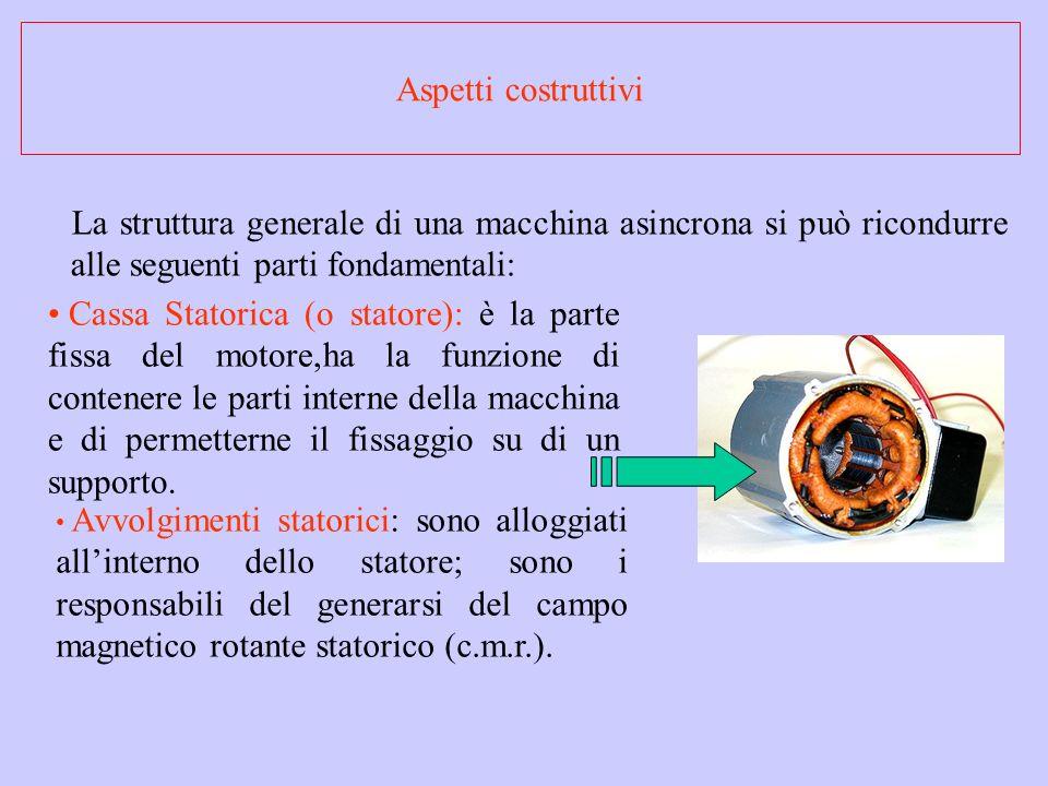 La struttura generale di una macchina asincrona si può ricondurre alle seguenti parti fondamentali: Cassa Statorica (o statore): è la parte fissa del