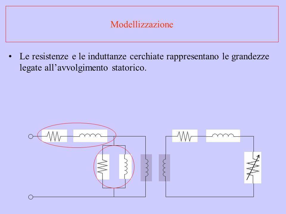 Modellizzazione Le resistenze e le induttanze cerchiate rappresentano le grandezze legate allavvolgimento statorico.