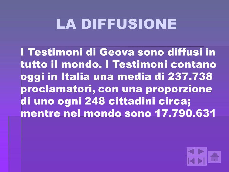 LA DIFFUSIONE I Testimoni di Geova sono diffusi in tutto il mondo. I Testimoni contano oggi in Italia una media di 237.738 proclamatori, con una propo