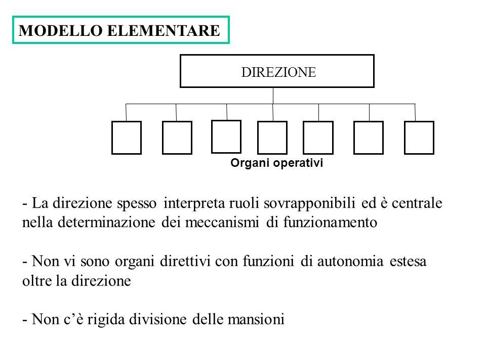 DIREZIONE Organi operativi MODELLO ELEMENTARE - La direzione spesso interpreta ruoli sovrapponibili ed è centrale nella determinazione dei meccanismi