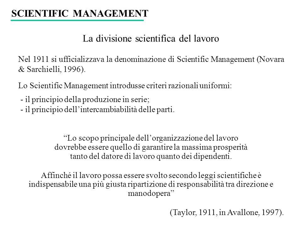 La divisione scientifica del lavoro Nel 1911 si ufficializzava la denominazione di Scientific Management (Novara & Sarchielli, 1996). Lo Scientific Ma