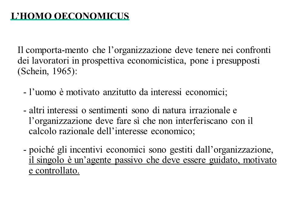 Il comporta-mento che lorganizzazione deve tenere nei confronti dei lavoratori in prospettiva economicistica, pone i presupposti (Schein, 1965): - luo