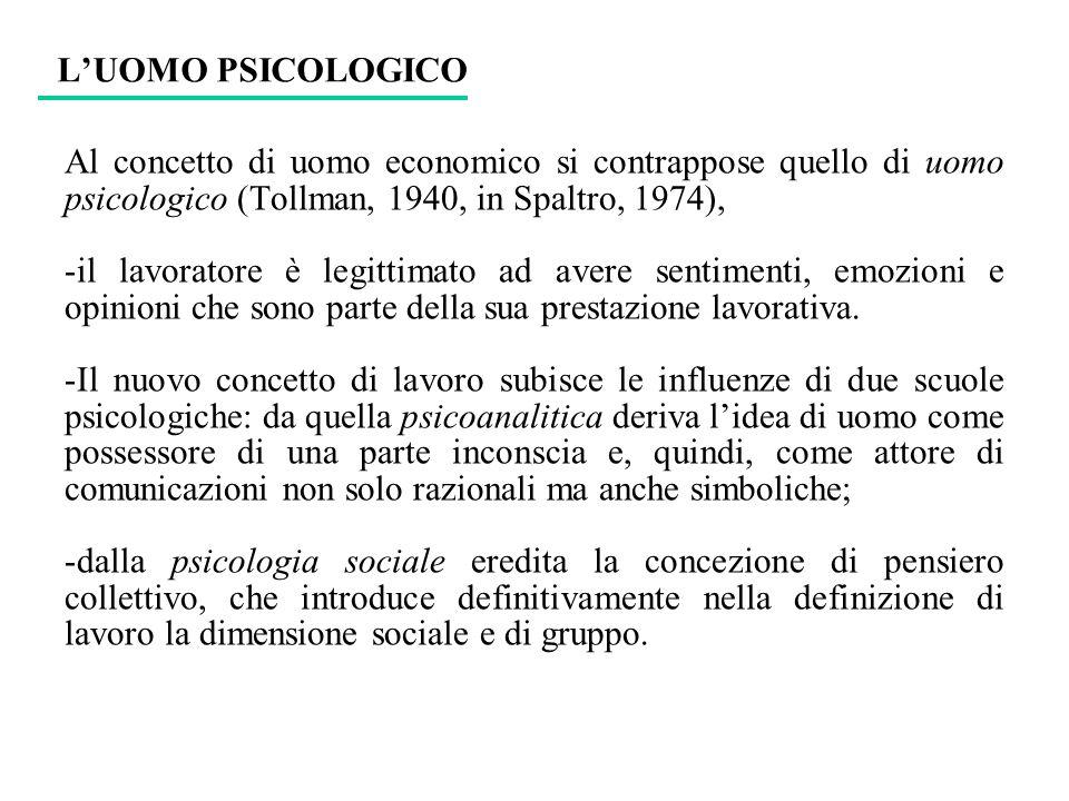 LUOMO PSICOLOGICO Al concetto di uomo economico si contrappose quello di uomo psicologico (Tollman, 1940, in Spaltro, 1974), -il lavoratore è legittim
