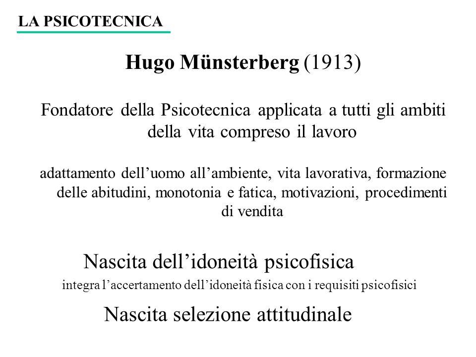 Hugo Münsterberg (1913) Fondatore della Psicotecnica applicata a tutti gli ambiti della vita compreso il lavoro adattamento delluomo allambiente, vita