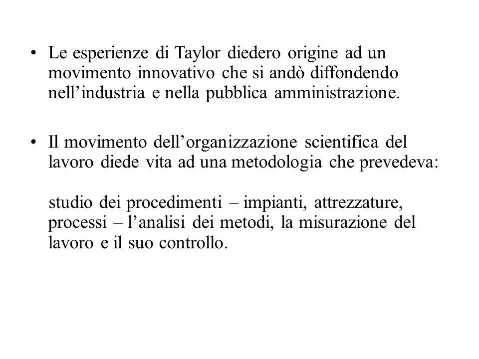 Le esperienze di Taylor diedero origine ad un movimento innovativo che si andò diffondendo nellindustria e nella pubblica amministrazione. Il moviment