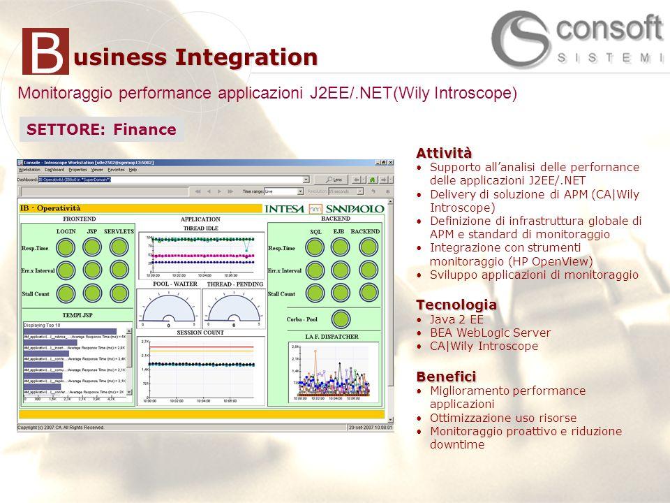 15 usiness Integration BAttività Supporto allanalisi delle perfornance delle applicazioni J2EE/.NET Delivery di soluzione di APM (CA|Wily Introscope) Definizione di infrastruttura globale di APM e standard di monitoraggio Integrazione con strumenti monitoraggio (HP OpenView) Sviluppo applicazioni di monitoraggioTecnologia Java 2 EE BEA WebLogic Server CA|Wily IntroscopeBenefici Miglioramento performance applicazioni Ottimizzazione uso risorse Monitoraggio proattivo e riduzione downtime Attività Supporto allanalisi delle perfornance delle applicazioni J2EE/.NET Delivery di soluzione di APM (CA|Wily Introscope) Definizione di infrastruttura globale di APM e standard di monitoraggio Integrazione con strumenti monitoraggio (HP OpenView) Sviluppo applicazioni di monitoraggioTecnologia Java 2 EE BEA WebLogic Server CA|Wily IntroscopeBenefici Miglioramento performance applicazioni Ottimizzazione uso risorse Monitoraggio proattivo e riduzione downtime Monitoraggio performance applicazioni J2EE/.NET(Wily Introscope) SETTORE: Finance