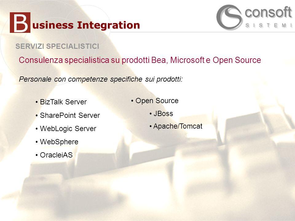 20 SERVIZI SPECIALISTICI usiness Integration B Consulenza specialistica su prodotti Bea, Microsoft e Open Source Personale con competenze specifiche sui prodotti: Open Source JBoss Apache/Tomcat BizTalk Server SharePoint Server WebLogic Server WebSphere OracleiAS