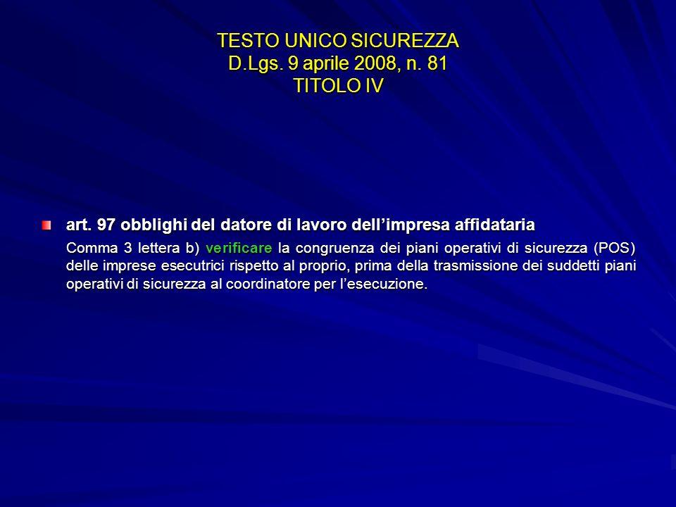 TESTO UNICO SICUREZZA D.Lgs. 9 aprile 2008, n. 81 TITOLO IV art. 97 obblighi del datore di lavoro dellimpresa affidataria Comma 3 lettera b) verificar