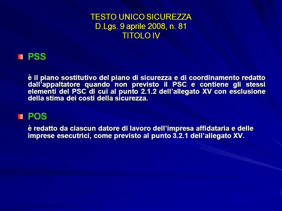 TESTO UNICO SICUREZZA D.Lgs. 9 aprile 2008, n. 81 TITOLO IV PSS è il piano sostitutivo del piano di sicurezza e di coordinamento redatto dallappaltato