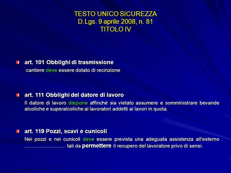 TESTO UNICO SICUREZZA D.Lgs. 9 aprile 2008, n. 81 TITOLO IV art. 101 Obblighi di trasmissione cantiere deve essere dotato di recinzione art. 111 Obbli