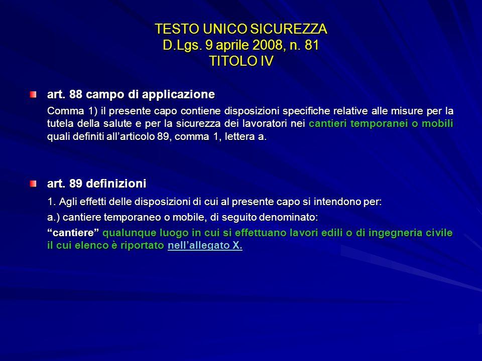 TESTO UNICO SICUREZZA D.Lgs. 9 aprile 2008, n. 81 TITOLO IV art. 88 campo di applicazione Comma 1) il presente capo contiene disposizioni specifiche r