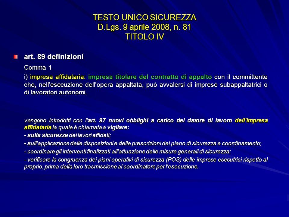 TESTO UNICO SICUREZZA D.Lgs. 9 aprile 2008, n. 81 TITOLO IV art. 89 definizioni Comma 1 i) impresa affidataria: impresa titolare del contratto di appa