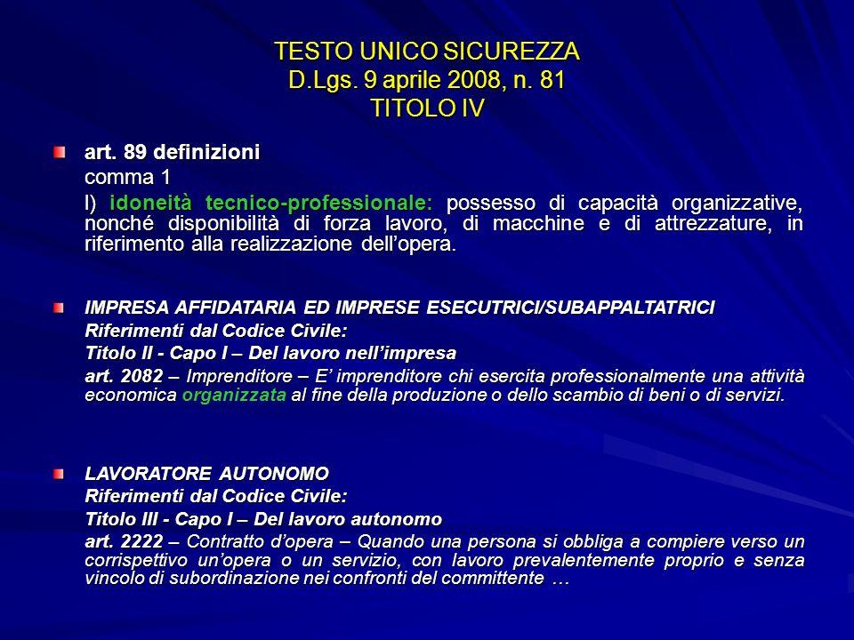TESTO UNICO SICUREZZA D.Lgs. 9 aprile 2008, n. 81 TITOLO IV art. 89 definizioni comma 1 l) idoneità tecnico-professionale: possesso di capacità organi
