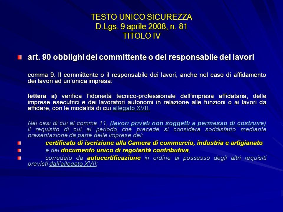 TESTO UNICO SICUREZZA D.Lgs. 9 aprile 2008, n. 81 TITOLO IV art. 90 obblighi del committente o del responsabile dei lavori comma 9. Il committente o i