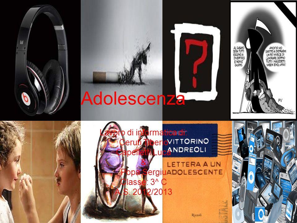 Lavoro di informatica di: Ceruti Tiberio Capelletti Luca & Popa Sergiu Classe: 3^ C A.S. 2012/2013 Adolescenza