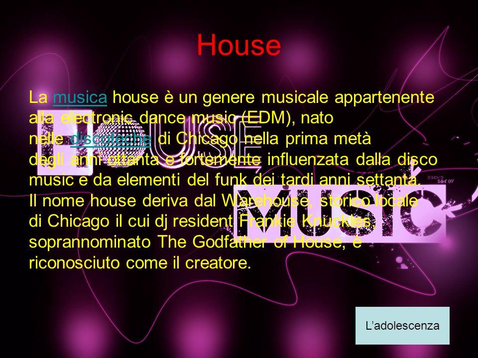 House La musica house è un genere musicale appartenente alla electronic dance music (EDM), nato nelle discoteche di Chicago nella prima metà degli ann