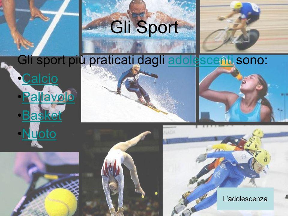 Gli Sport Gli sport più praticati dagli adolescenti sono:adolescenti Calcio Pallavolo Basket Nuoto Ladolescenza