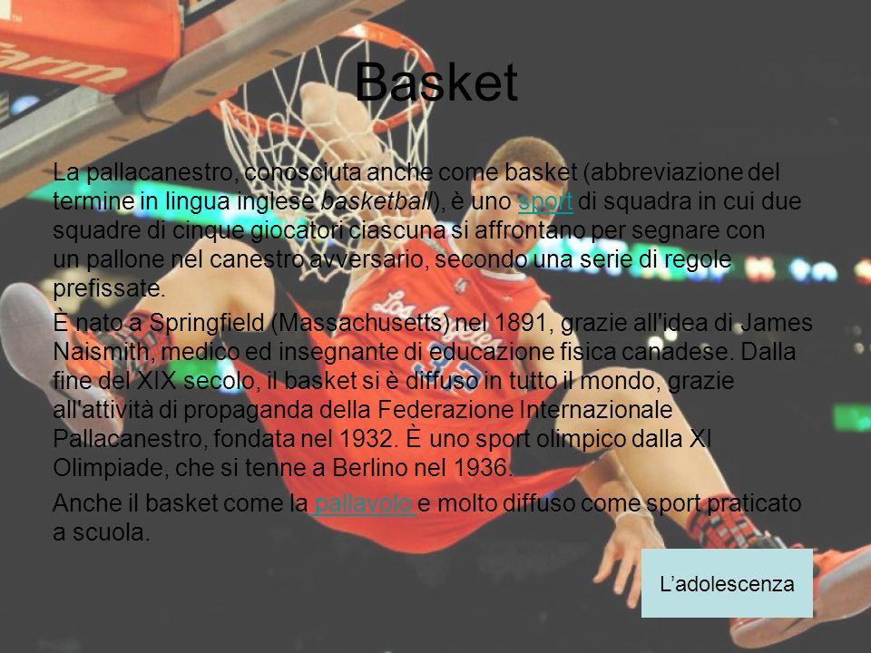 Basket La pallacanestro, conosciuta anche come basket (abbreviazione del termine in lingua inglese basketball), è uno sport di squadra in cui due squa