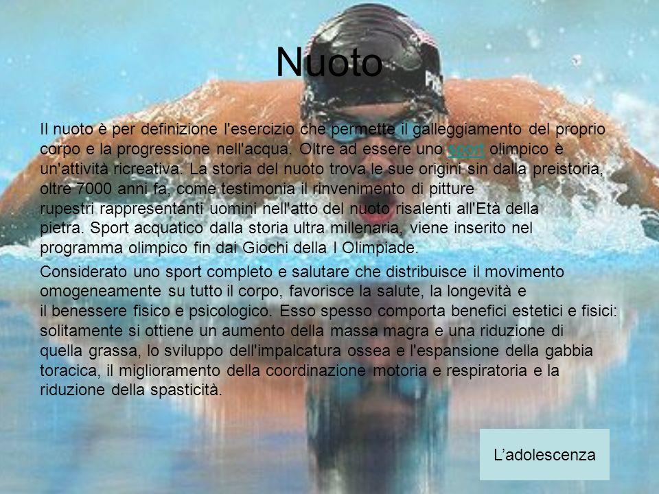 Nuoto Il nuoto è per definizione l'esercizio che permette il galleggiamento del proprio corpo e la progressione nell'acqua. Oltre ad essere uno sport