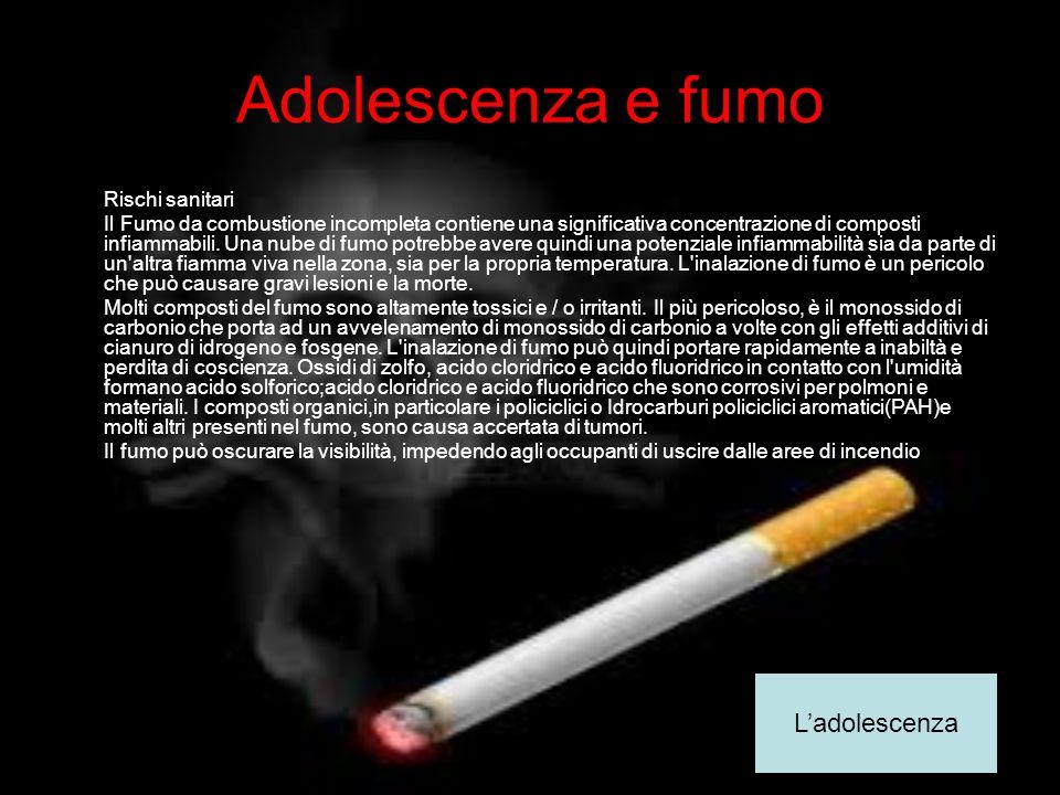 Adolescenza e fumo Rischi sanitari Il Fumo da combustione incompleta contiene una significativa concentrazione di composti infiammabili. Una nube di f