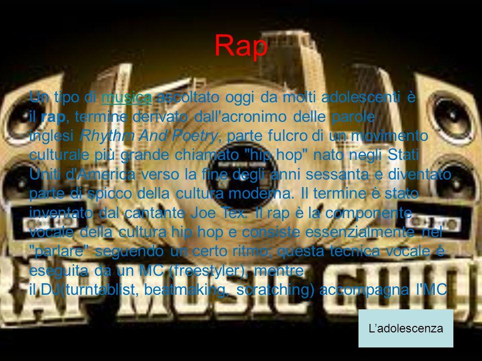 Rap Un tipo di musica ascoltato oggi da molti adolescenti è il rap, termine derivato dall'acronimo delle parole inglesi Rhythm And Poetry, parte fulcr