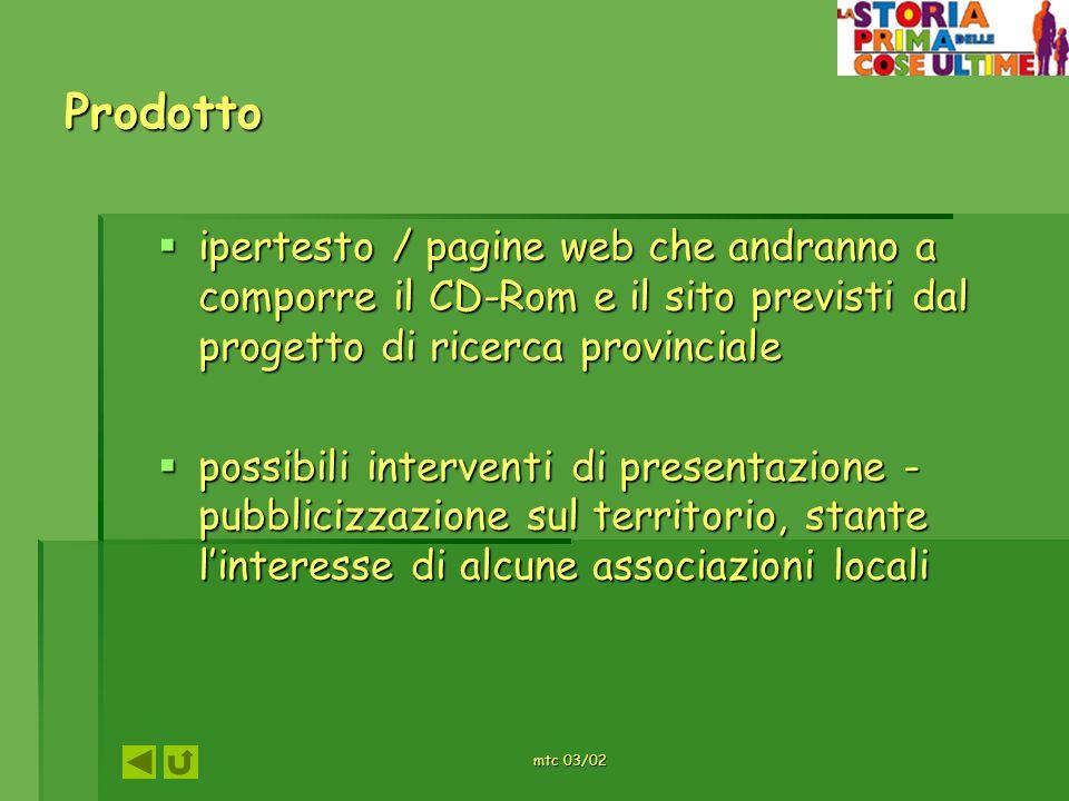 mtc 03/02 Prodotto ipertesto / pagine web che andranno a comporre il CD-Rom e il sito previsti dal progetto di ricerca provinciale ipertesto / pagine