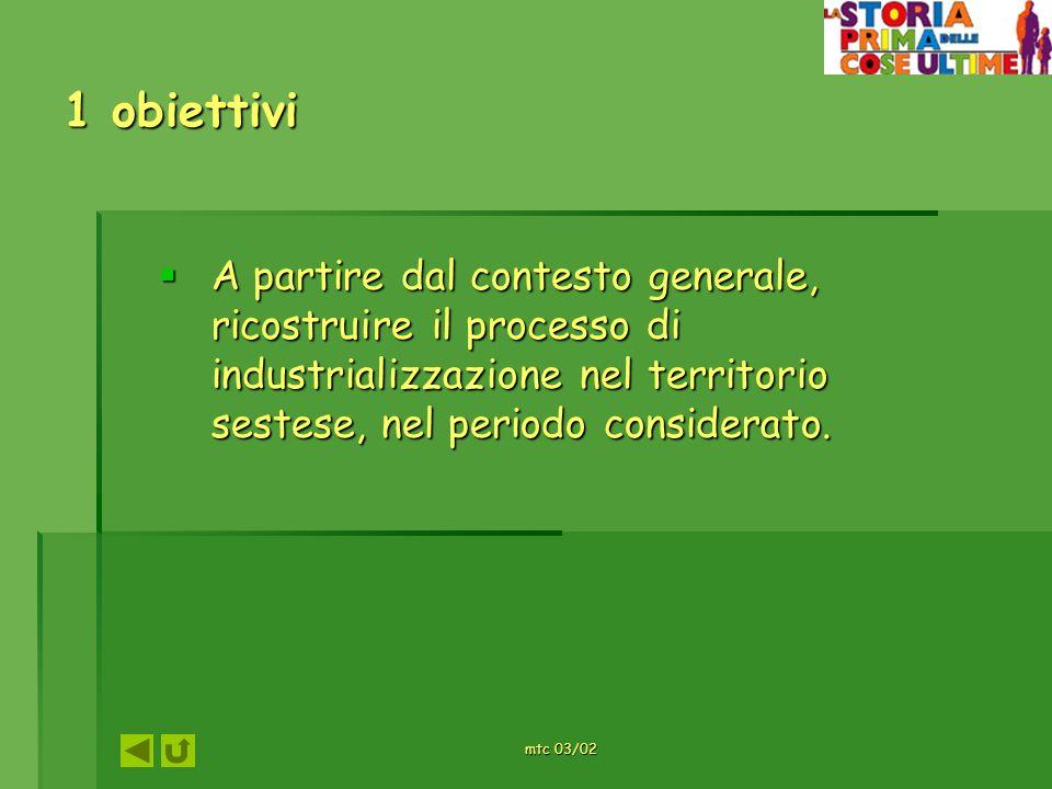 1 obiettivi A partire dal contesto generale, ricostruire il processo di industrializzazione nel territorio sestese, nel periodo considerato. A partire