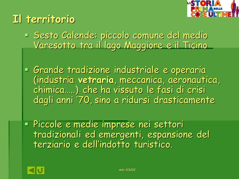 mtc 03/02 Il territorio Sesto Calende: piccolo comune del medio Varesotto tra il lago Maggiore e il Ticino Sesto Calende: piccolo comune del medio Var