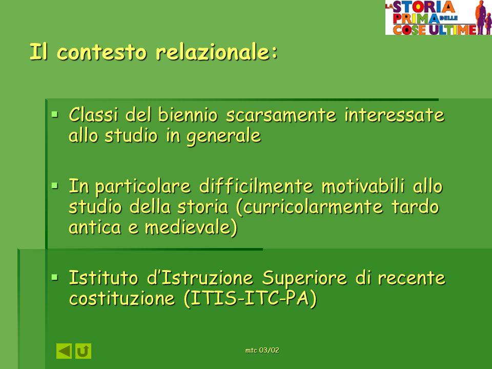 mtc 03/02 Il contesto relazionale: Classi del biennio scarsamente interessate allo studio in generale Classi del biennio scarsamente interessate allo
