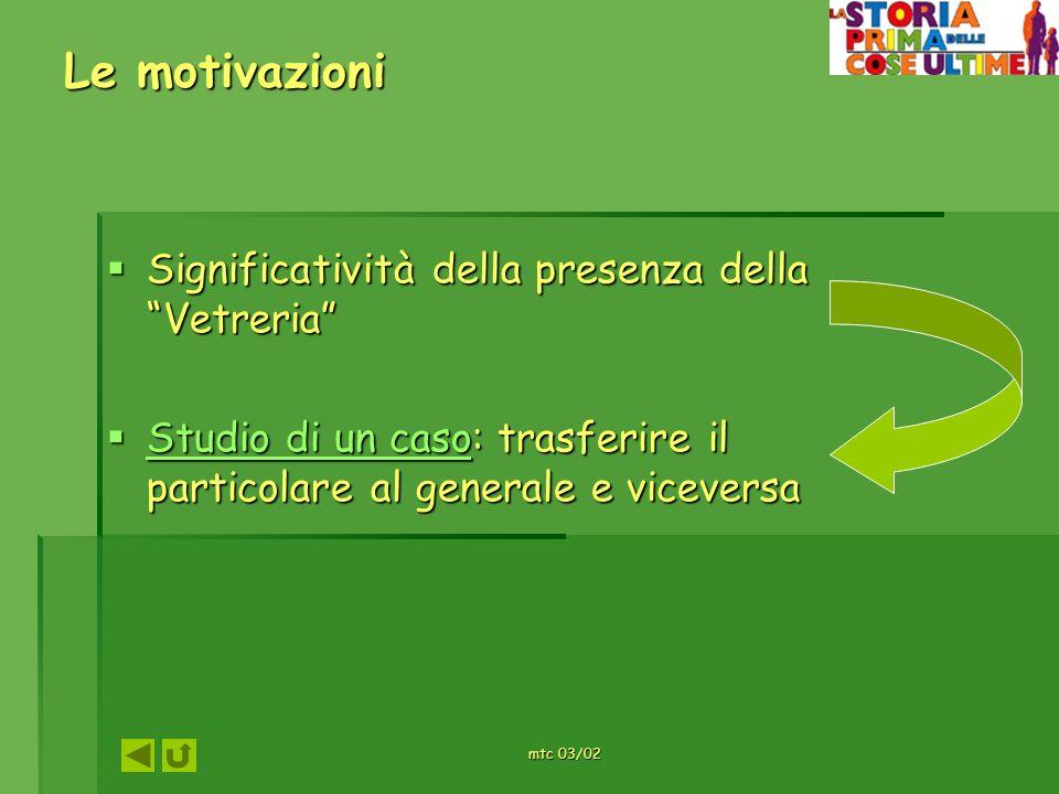 mtc 03/02 Le fasi di lavoro: il metodo Motivazione – attivazione preconoscenze Motivazione – attivazione preconoscenze Focalizzazione e acquisizione Focalizzazione e acquisizione Socializzazione e verifica Socializzazione e verifica