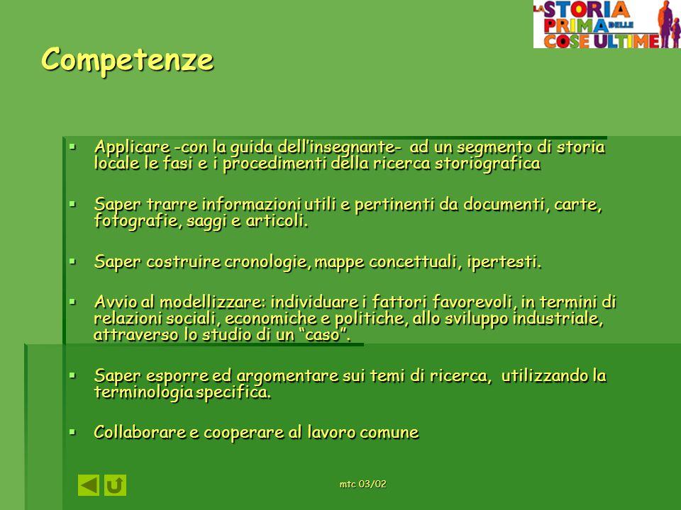mtc 03/02 Competenze Applicare -con la guida dellinsegnante- ad un segmento di storia locale le fasi e i procedimenti della ricerca storiografica Appl