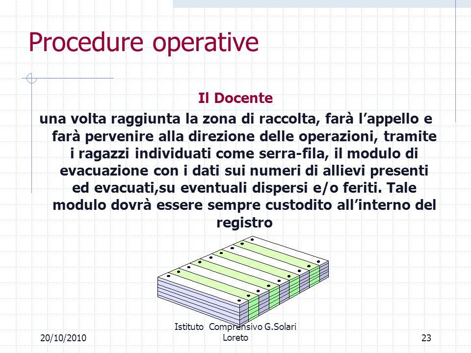2320/10/2010 Istituto Comprensivo G.Solari Loreto Procedure operative Il Docente una volta raggiunta la zona di raccolta, farà lappello e farà perveni