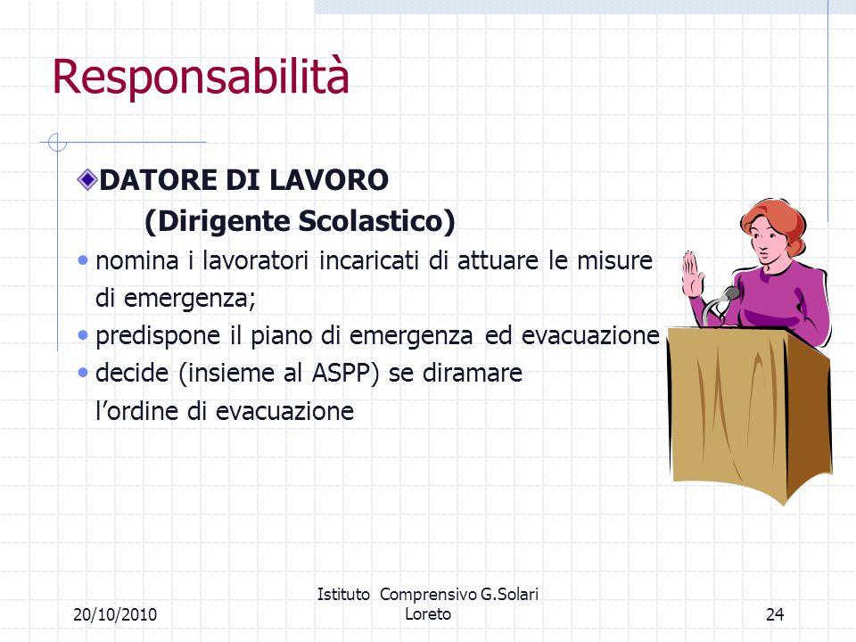 2420/10/2010 Istituto Comprensivo G.Solari Loreto Responsabilità DATORE DI LAVORO (Dirigente Scolastico) nomina i lavoratori incaricati di attuare le