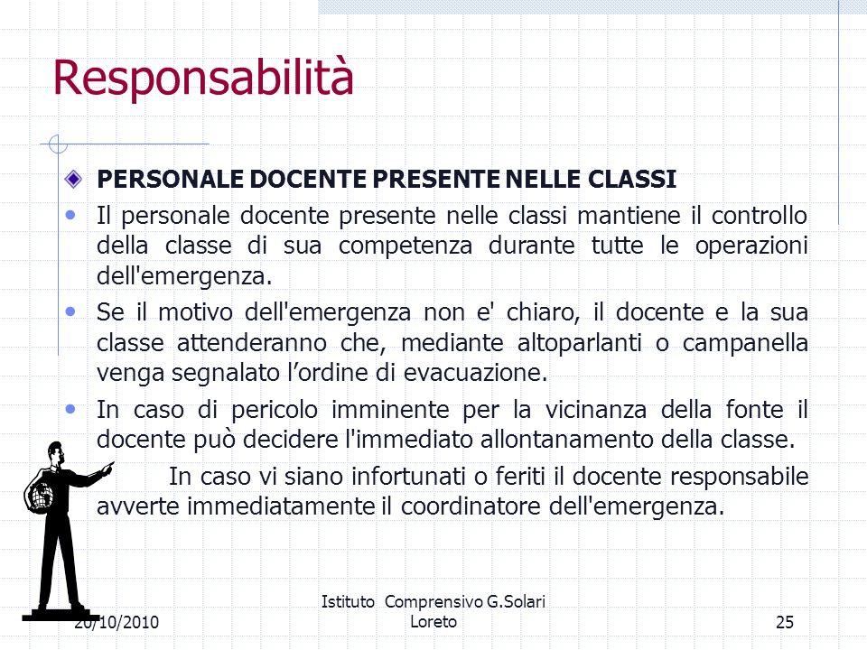 2520/10/2010 Istituto Comprensivo G.Solari Loreto Responsabilità PERSONALE DOCENTE PRESENTE NELLE CLASSI Il personale docente presente nelle classi ma