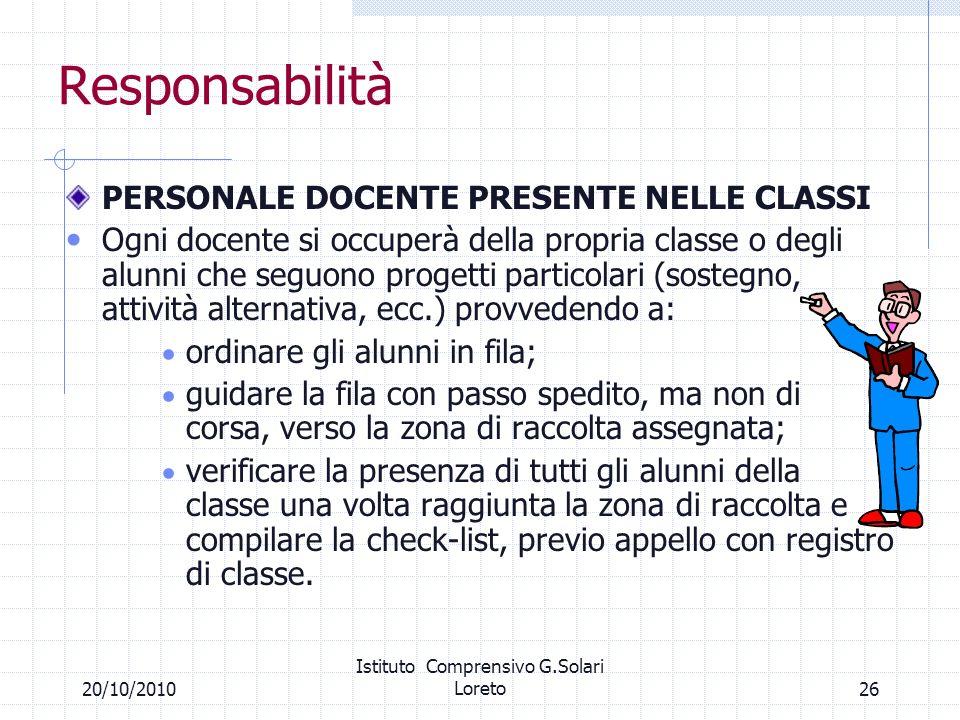 2620/10/2010 Istituto Comprensivo G.Solari Loreto Responsabilità PERSONALE DOCENTE PRESENTE NELLE CLASSI Ogni docente si occuperà della propria classe