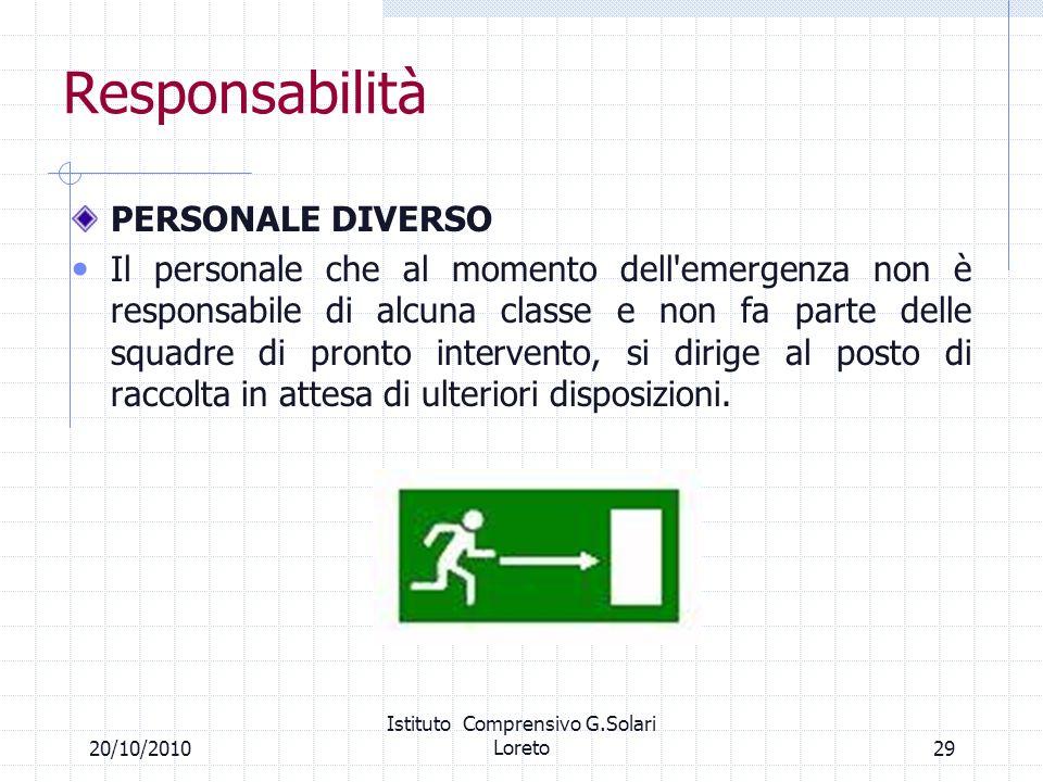29 Responsabilità PERSONALE DIVERSO Il personale che al momento dell'emergenza non è responsabile di alcuna classe e non fa parte delle squadre di pro