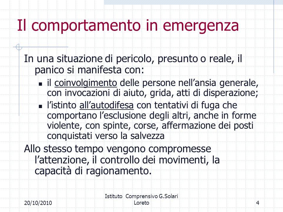 420/10/2010 Istituto Comprensivo G.Solari Loreto Il comportamento in emergenza In una situazione di pericolo, presunto o reale, il panico si manifesta