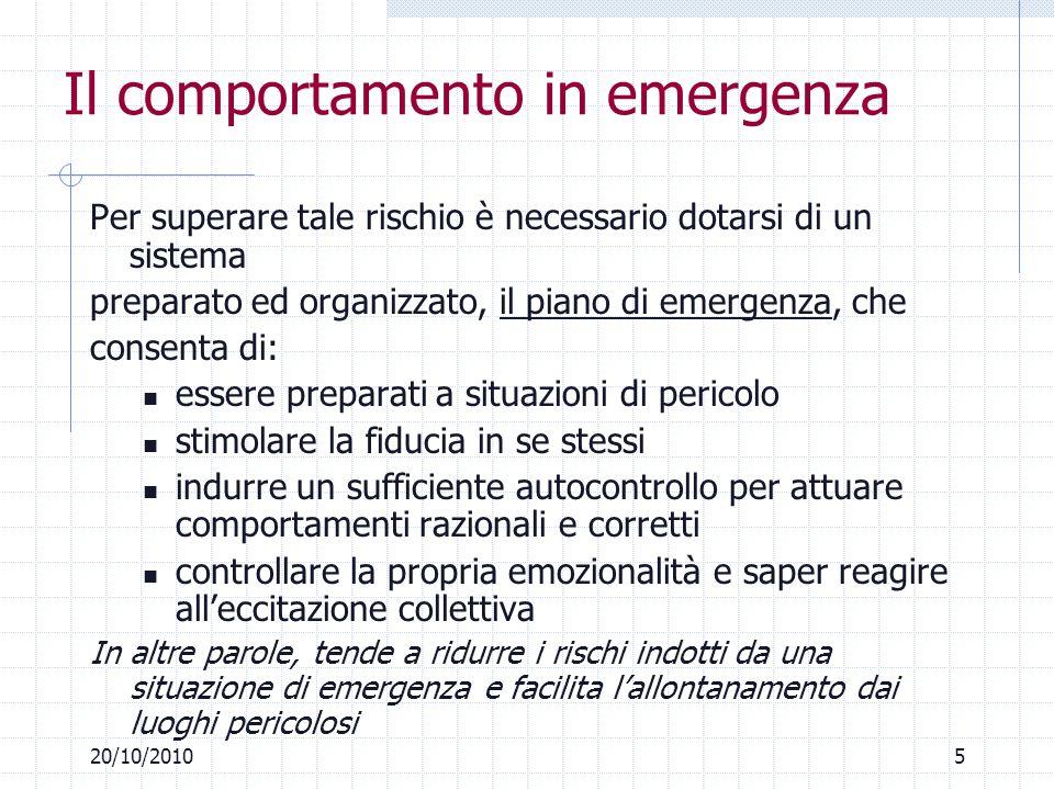 520/10/2010 Il comportamento in emergenza Per superare tale rischio è necessario dotarsi di un sistema preparato ed organizzato, il piano di emergenza