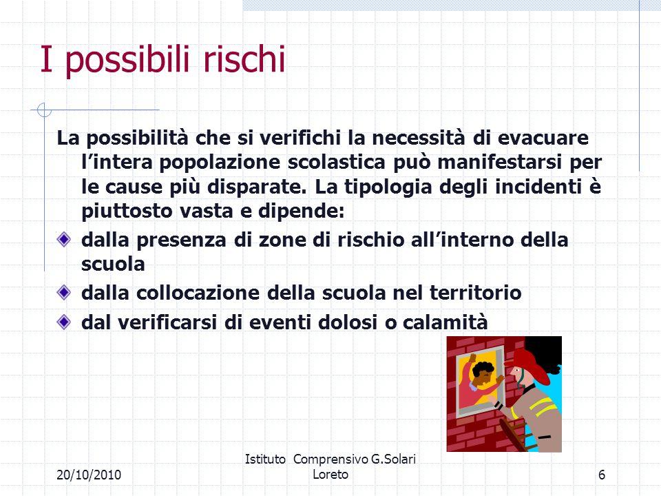 620/10/2010 Istituto Comprensivo G.Solari Loreto I possibili rischi La possibilità che si verifichi la necessità di evacuare lintera popolazione scola