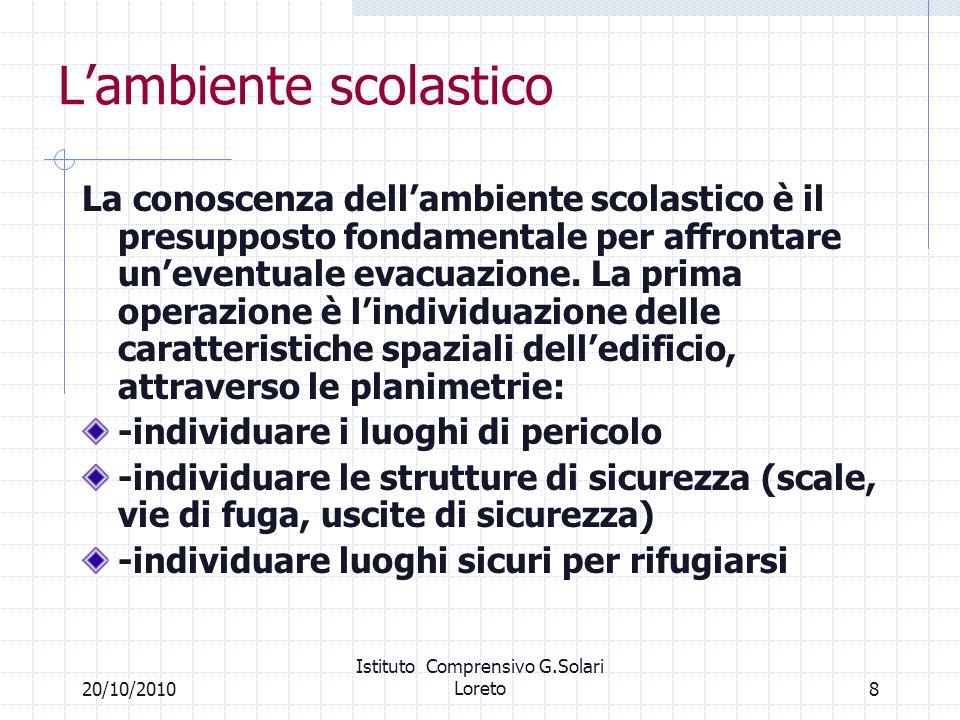 820/10/2010 Istituto Comprensivo G.Solari Loreto Lambiente scolastico La conoscenza dellambiente scolastico è il presupposto fondamentale per affronta