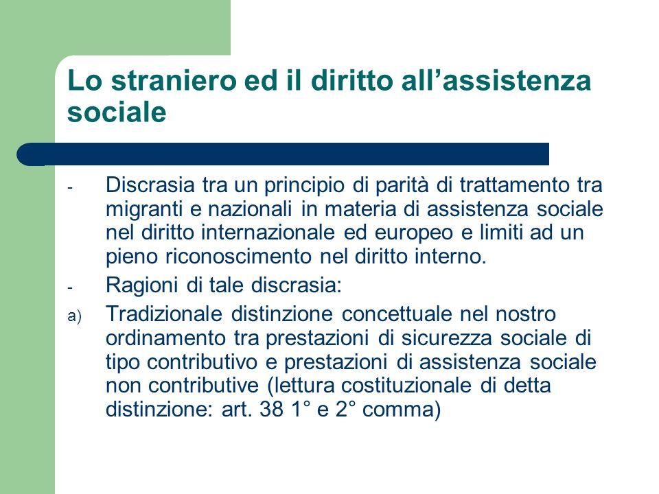 La legislazione nazionale in materia di accesso degli stranieri alle prestazioni di assistenza sociale Lassegno sociale (legge n.