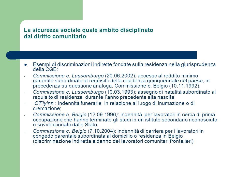 La sicurezza sociale quale ambito disciplinato dal diritto comunitario Esempi di discriminazioni indirette fondate sulla residenza nella giurisprudenz