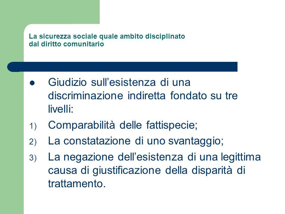 La sicurezza sociale quale ambito disciplinato dal diritto comunitario Giudizio sullesistenza di una discriminazione indiretta fondato su tre livelli: