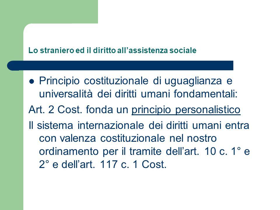 Lo straniero ed il diritto allassistenza sociale Principio costituzionale di uguaglianza e universalità dei diritti umani fondamentali: Art. 2 Cost. f