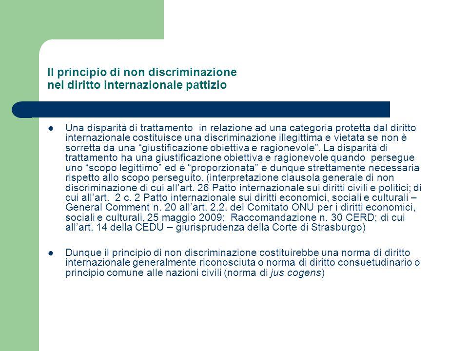 Il principio di non discriminazione nel diritto internazionale pattizio Una disparità di trattamento in relazione ad una categoria protetta dal diritt