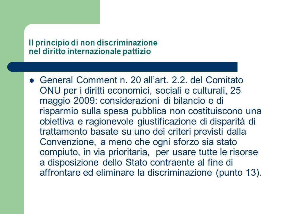 Il principio di non discriminazione nel diritto internazionale pattizio General Comment n. 20 allart. 2.2. del Comitato ONU per i diritti economici, s