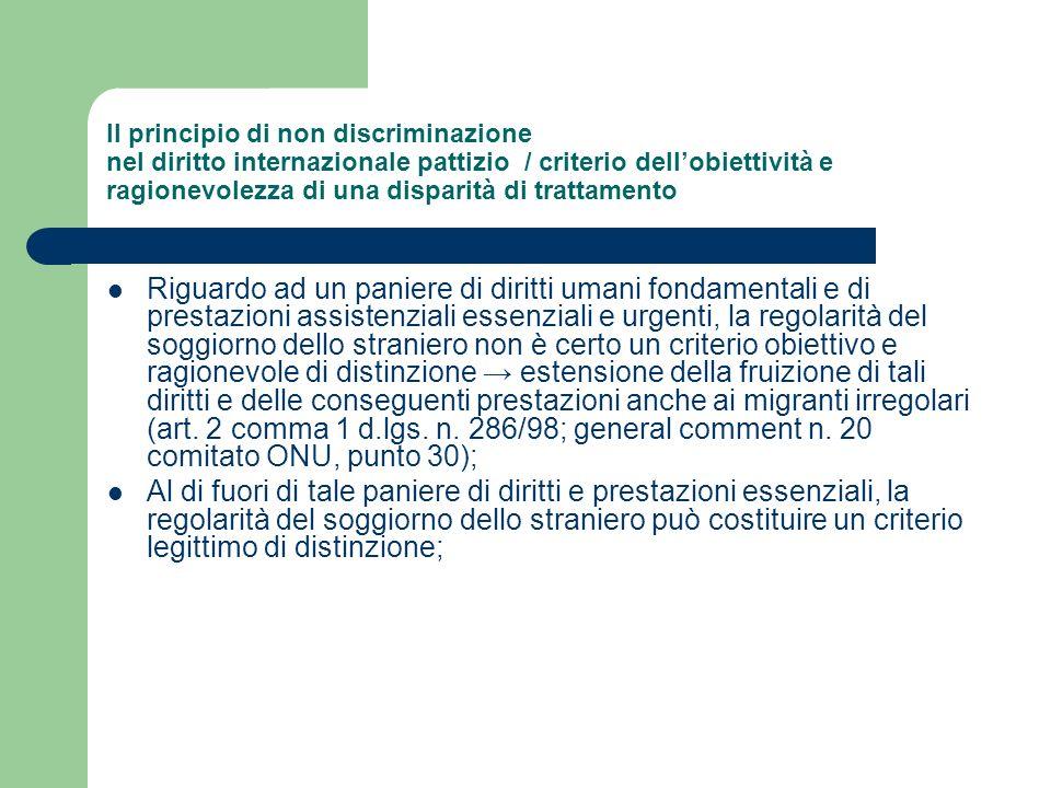 Il principio di non discriminazione nel diritto internazionale pattizio / criterio dellobiettività e ragionevolezza di una disparità di trattamento Ri