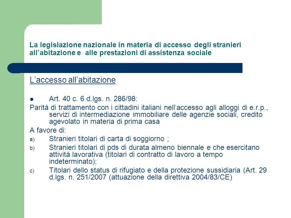 La legislazione nazionale in materia di accesso degli stranieri allabitazione e alle prestazioni di assistenza sociale Laccesso allabitazione Art. 40